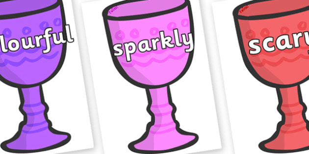 Wow Words on Goblets - Wow words, adjectives, VCOP, describing, Wow, display, poster, wow display, tasty, scary, ugly, beautiful, colourful sharp, bouncy