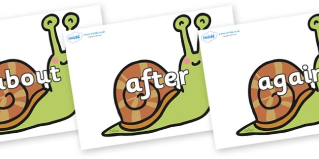 KS1 Keywords on Snails - KS1, CLL, Communication language and literacy, Display, Key words, high frequency words, foundation stage literacy, DfES Letters and Sounds, Letters and Sounds, spelling