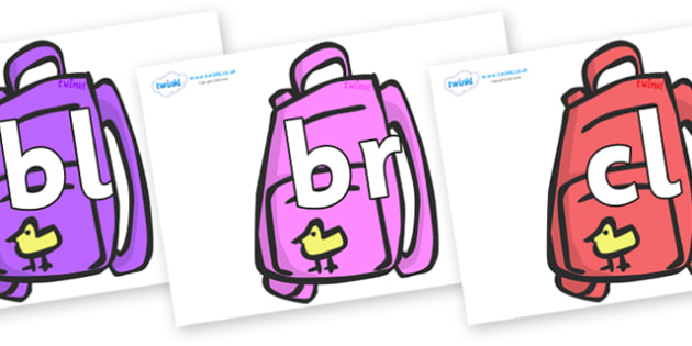 Initial Letter Blends on Backpacks - Initial Letters, initial letter, letter blend, letter blends, consonant, consonants, digraph, trigraph, literacy, alphabet, letters, foundation stage literacy