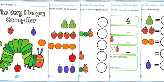 Maths Booklet to Support Teaching on The Very Hungry Caterpillar - the Very Hungry Caterpillar,  Eric Carle, resources, Hungry Caterpillar, life cycle of a butterfly, days of the week, food, fruit, story, story book, story book resources, story seque