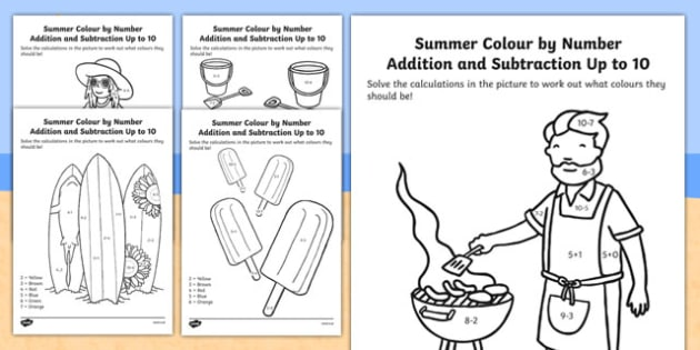 Summer Colour by Number Addition and Subtraction Up to 10 - 10