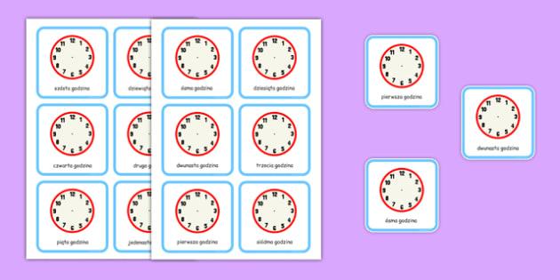 Karty Napisz godzinę po polsku - czas, zegar, godzina