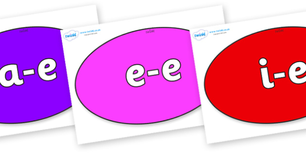 Modifying E Letters on Ovals - Modifying E, letters, modify, Phase 5, Phase five, alternative spellings for phonemes, DfES letters and Sounds