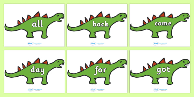 100 High Frequency Words on Dinosaurs - High frequency words, hfw, DfES Letters and Sounds, Letters and Sounds, display words