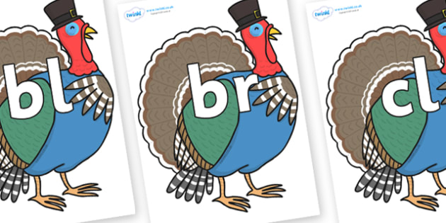 Initial Letter Blends on Turkey Lurky - Initial Letters, initial letter, letter blend, letter blends, consonant, consonants, digraph, trigraph, literacy, alphabet, letters, foundation stage literacy