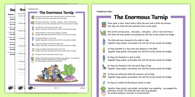 The Enormous Turnip Traditional Tales Differentiated Reading Comprehension Activity