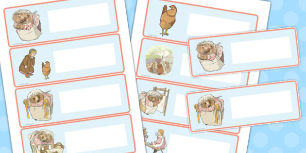The Tale of Mrs Tiggy Winkle Editable Drawer Peg Name Labels