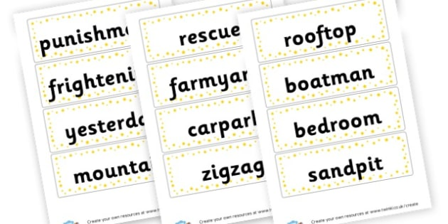 Two Syllable Word Cards - Words & Vocab Primary Resources, literacy, keywords, cvc, phonemes