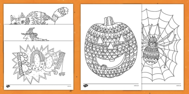 Adult Colouring Halloween Themed Mindfulness Colouring Sheets - halloween, mindfulness, adult colouring
