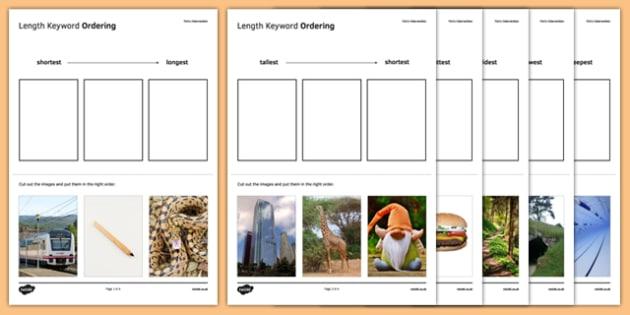 Maths Intervention Length Keyword Ordering Activity Sheet Pack - SEN, special needs, intervention, maths, measure, length, worksheet