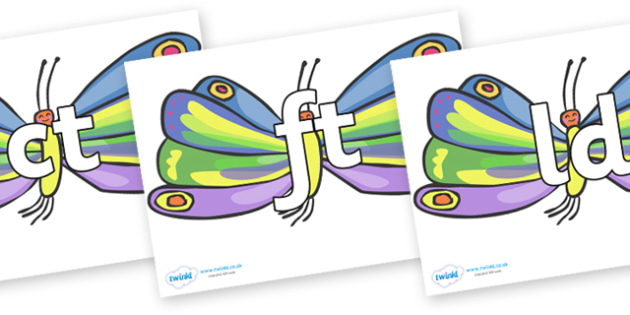 Final Letter Blends on Beautiful Butterflies to Support Teaching on The Very Hungry Caterpillar - Final Letters, final letter, letter blend, letter blends, consonant, consonants, digraph, trigraph, literacy, alphabet, letters, foundation stage litera