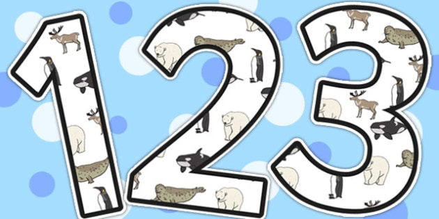 Polar Animals A4 Display Numbers - Polar, Animals, A4, Numbers
