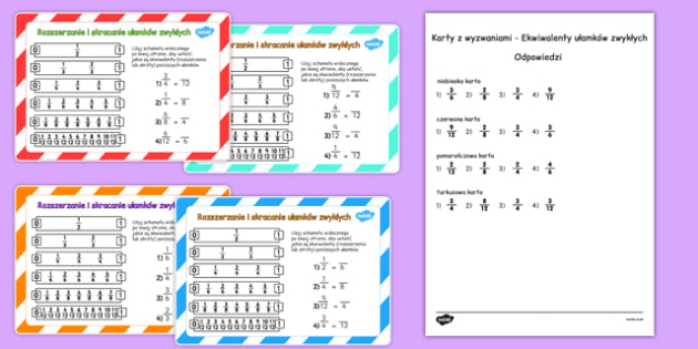 Equivalent Fractions Challenge Cards Polish - polish, fraction, numeracy, maths