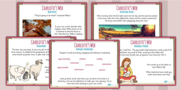 Charlotte's Web Challenge Posters - stories, KS2 story, display