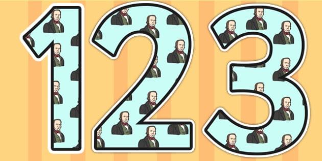 Isambard Kingdom Brunel Themed Display Numbers - isambard kingdom brunel, brunel, display numbers, themed number, classroom numbers, numbers for display