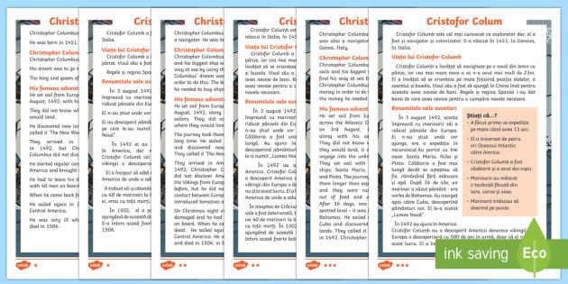 Christopher Columbus Explorer Differentiated Fact File English/Romanian