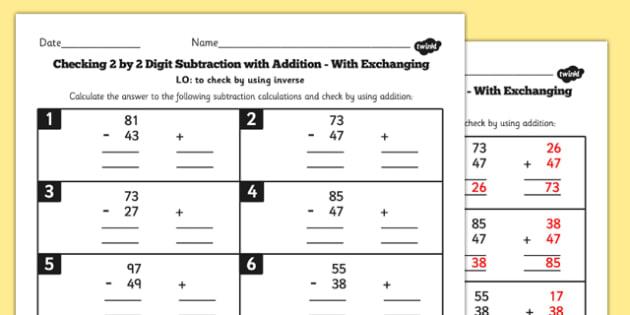Y3 Inverse Check 2 Digit 2 Subtraction Addition Exchange Sheet