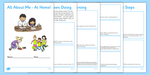 EYFS All About Me At Home Booklet - EYFS, All About Me, Home School Links, targets, next steps