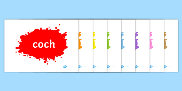 Colour Words on Splats Welsh - colour, words, splats, welsh