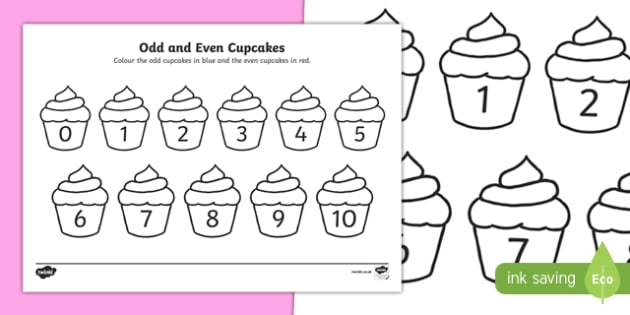 Odd and Even Cupcakes Activity Sheet, worksheet