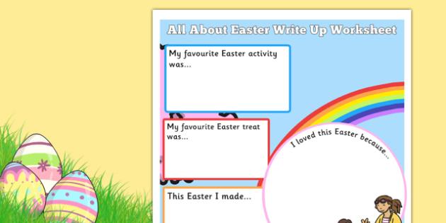 Easter Holiday Write Up Worksheet - celebrations, celebration