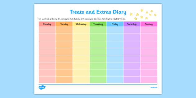 Treats and Extras Diary Checklist