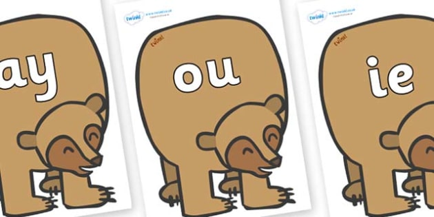 Phase 5 Phonemes on Brown Bear to Support Teaching on Brown Bear, Brown Bear - Phonemes, phoneme, Phase 5, Phase five, Foundation, Literacy, Letters and Sounds, DfES, display