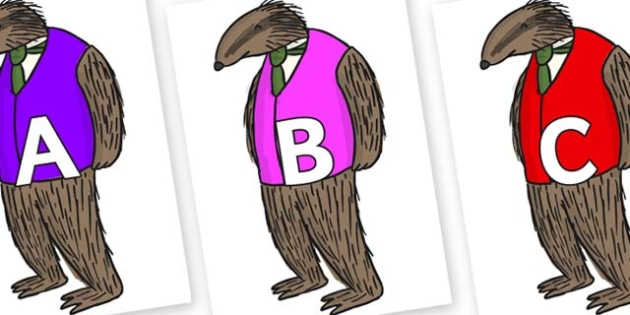 A-Z Alphabet on Badger to Support Teaching on Fantastic Mr Fox - A-Z, A4, display, Alphabet frieze, Display letters, Letter posters, A-Z letters, Alphabet flashcards