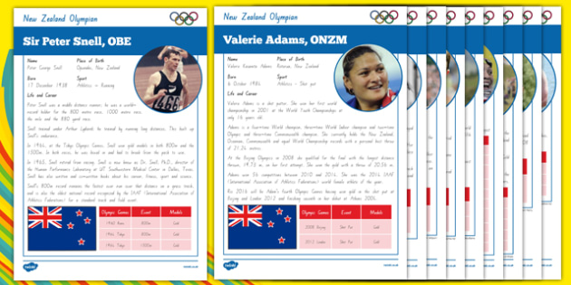 New Zealand Olympians Fact File