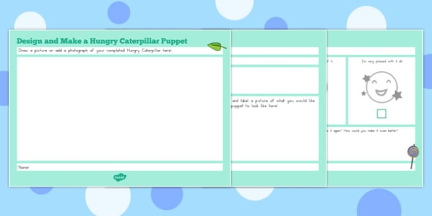 Design and Make a Very Hungry Caterpillar Puppet Booklet to Support Teaching on The Very Hungry Caterpillar - australia