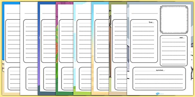Animal Factfile Template Worksheets - animal, factfile, worksheet