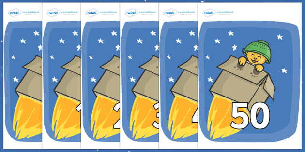 Numbers 0-50 on Rockets (Whatever Next) to Support Teaching on Whatever Next! - 0-50, foundation stage numeracy, Number recognition, Number flashcards, counting, number frieze, Display numbers, number posters