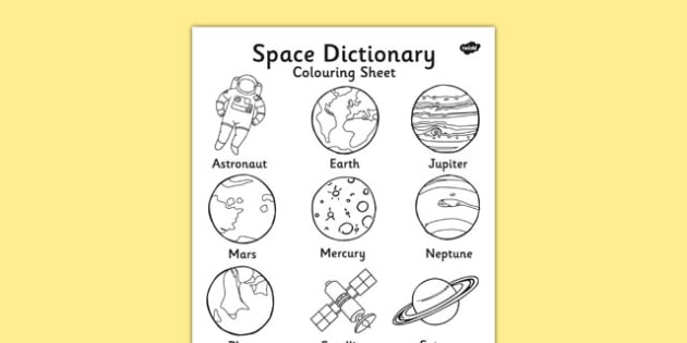 Space Dictionary Colouring Sheet - space, colouring sheet, colour