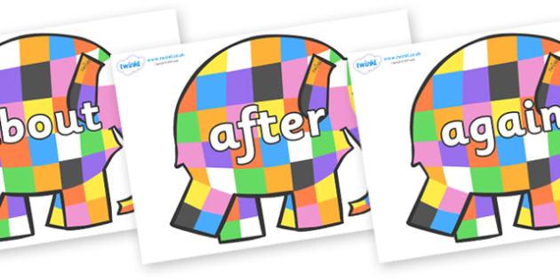 KS1 Keywords on Elmer to Support Teaching on Elmer - KS1, CLL, Communication language and literacy, Display, Key words, high frequency words, foundation stage literacy, DfES Letters and Sounds, Letters and Sounds, spelling