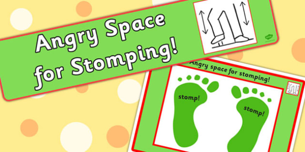 Angry Space For Stomping Sign and Mat - anger, emotions, expression, emotion