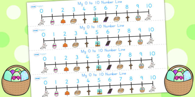 Easter Number Line 0 10 - easter, numeracy, number line, 0-10