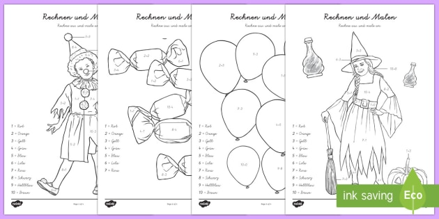 Faschingsbild Plus und Minus bis 10 Arbeitsblatt - Karneval, Fasching, Fastnacht, Addieren, Plus, Minus, Subtrahieren, Malen nach Zahlen,German