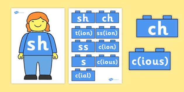 Building Brick Man sh Sound Family Cut Outs - toys, sounds