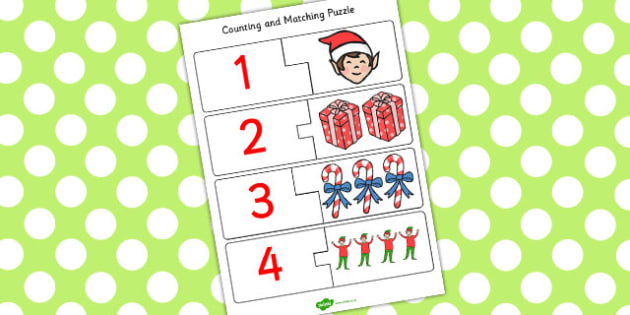 Elf Themed Counting Puzzle - counting, puzzle, elf, activity