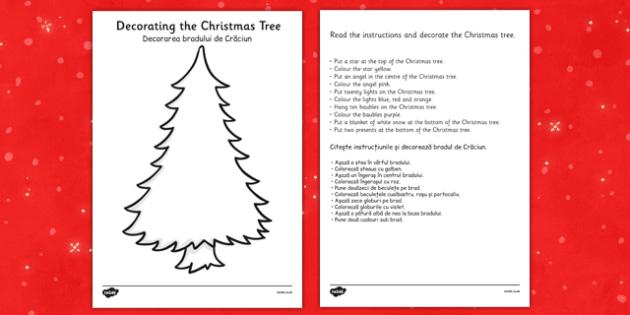 Christmas Tree Decorating Comprehension Activity Romanian Translation - romanian, christmas tree, decorating, comprehension, activity
