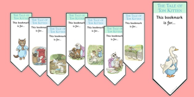 Beatrix Potter - The Tale of Tom Kitten Editable Bookmarks - beatrix potter, tom kitten