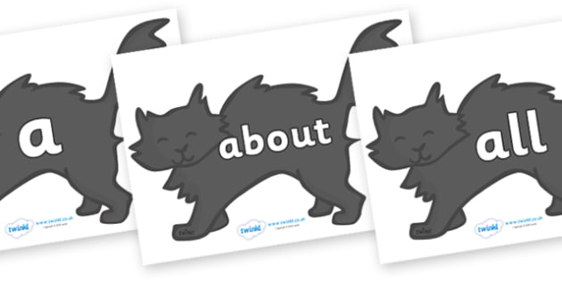 100 High Frequency Words on Black Cats - High frequency words, hfw, DfES Letters and Sounds, Letters and Sounds, display words