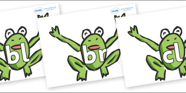 Initial Letter Blends on Frogs - Initial Letters, initial letter, letter blend, letter blends, consonant, consonants, digraph, trigraph, literacy, alphabet, letters, foundation stage literacy