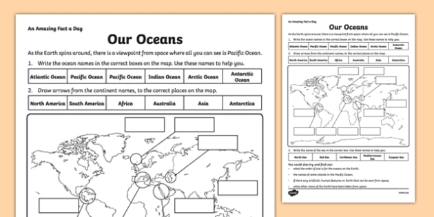 Our Oceans Activity Sheet - amazing fact a day, activity sheet, activity, activities, oceans, worksheet