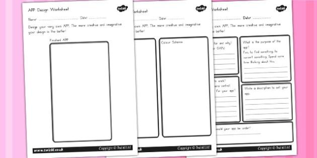 App Design Worksheet - worksheets, computers, application, apps