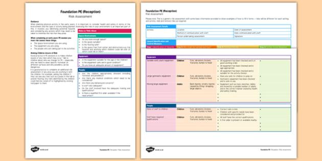 Foundation PE (Reception) Risk Assessment - EYFS, physical development, guidance