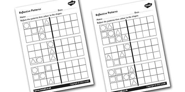 Reflective Patterns Worksheets - patterns worksheets, patterns with shapes, patterns, reflective patterns, symmetrical patterns, symmetry, ks2 numeracy