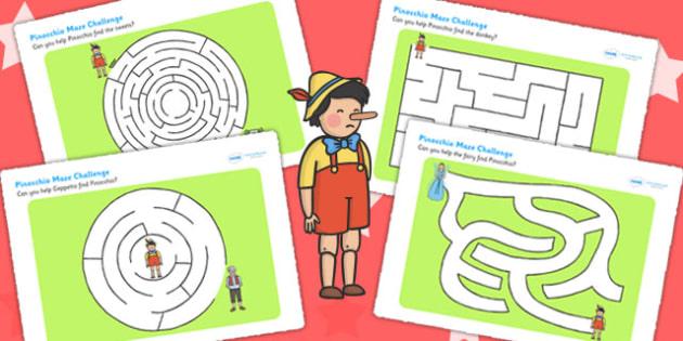 Pinocchio Differentiated Maze Activity Sheet Pack - mazes, games, worksheet