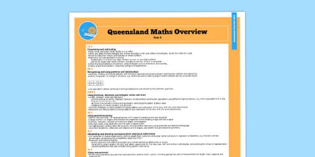 Queensland Curriculum Year 5 English Maths Numeracy Syllabus Overview - australia