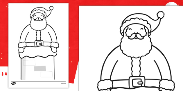 Father Christmas in Chimney Colouring Sheet - father christmas, colouring, sheet, colour, christmas, chimney